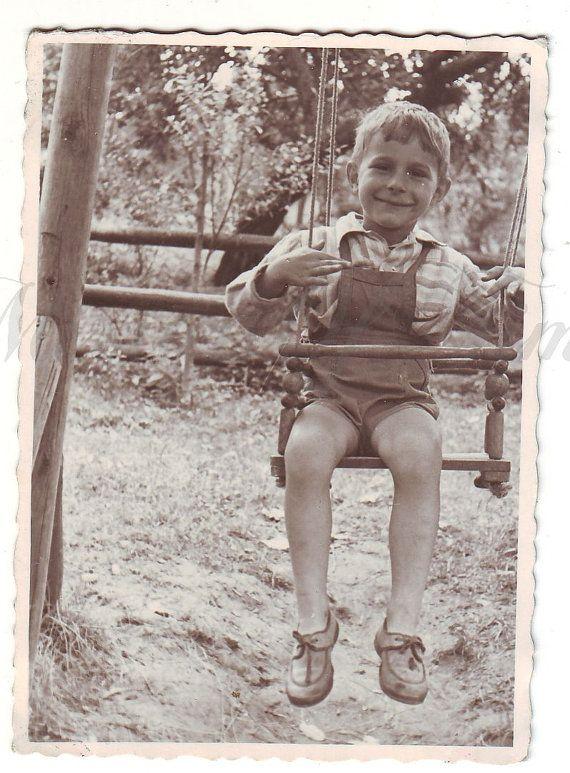 Vintage Photo  Little boy on a swing  Little boy photo