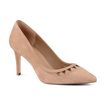 raheza cutout pump by Nine West. Triangular laser cutouts detail the vamp of a sultry suede pump fashioned with a chic pointy toe and slim heel.