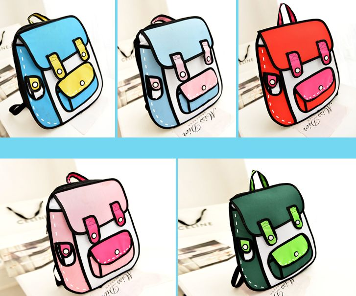 Japanese kawaii 3D canvas backpack
