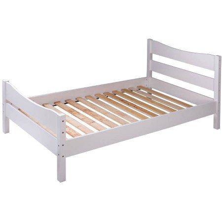 Merax Wood Twin Platform Bed Frame Mattress Foundation with Headboard and Wooden Slat Support, White