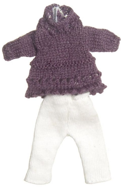 Teen Girl Purple Sweater Outfit | Mary's Dollhouse Miniature Furniture & Accessories