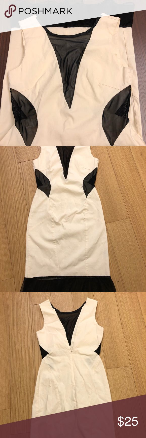 Cute Cut Out Dress! White and black cutout dress, sexy, stretchy, great for a night out! Miss Selfridge Dresses
