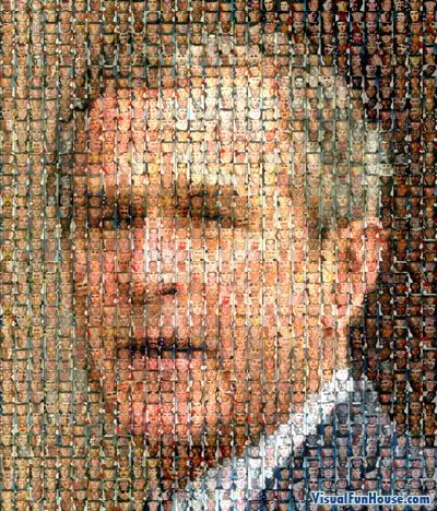 The Bush Mosaic Optical Illusion is a picture of George Bush composed of pictures of all the soldiers that have died in the recent war.: Empty Room, George Washington, 670 Soldiers, The Faces, Chuck Close, U.S. Presidents, Pictures, George Bush, American Soldiers