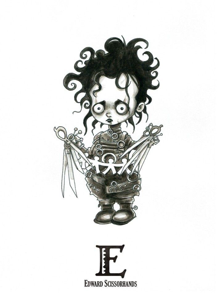 E Is For Edward Scissorhands Tiny Creatures Alphabet By David G