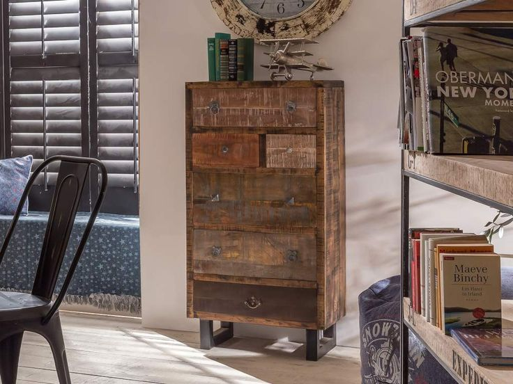 Günstige Küchen Ausstellungsküchen ~ Kommode PRIYA Mango massiv 6 Schubladen 13008 Pickupmöbelde