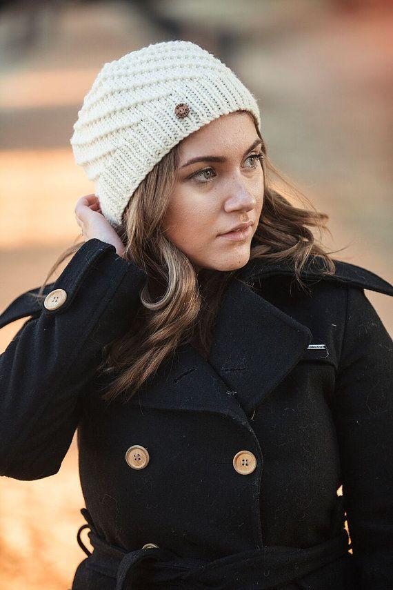 Cream Hand Knit Spiral Hat