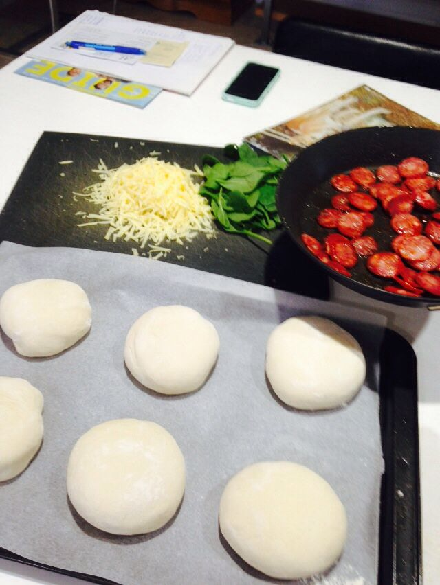 Pizza dough in the making.