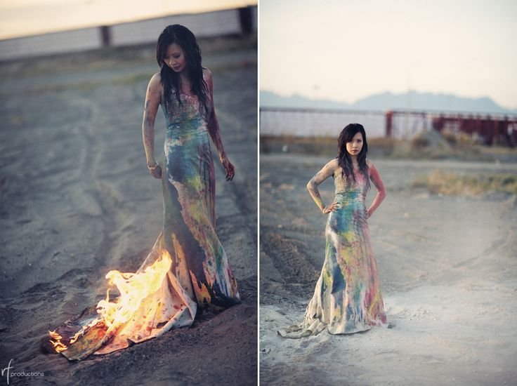 You only wear a wedding dress once. Make it count. Came across this photo shoot where the couple Played, Paintballed, Mudded and eventually burned their wedding day clothes. It looks like a lot of fun! Something the groom might enjoy doing for pictures! ;)