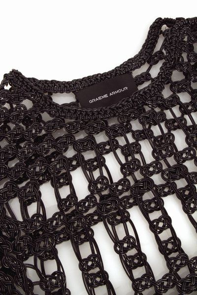 Contemporary textiles design for fashion, knitted leather dress detail with structured pattern // Graeme Armour