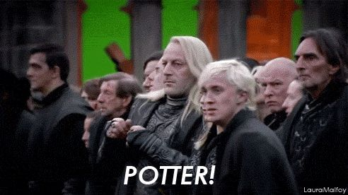 "at one time, the HPDH2 script had draco walking across the courtyard to his parents    until he saw that harry was alive    at which point he shouted ""Potter"", and ran back    across the courtyard    away from his parents    to harry 