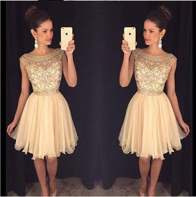 91a0b069e40 Champagne Homecoming Dress