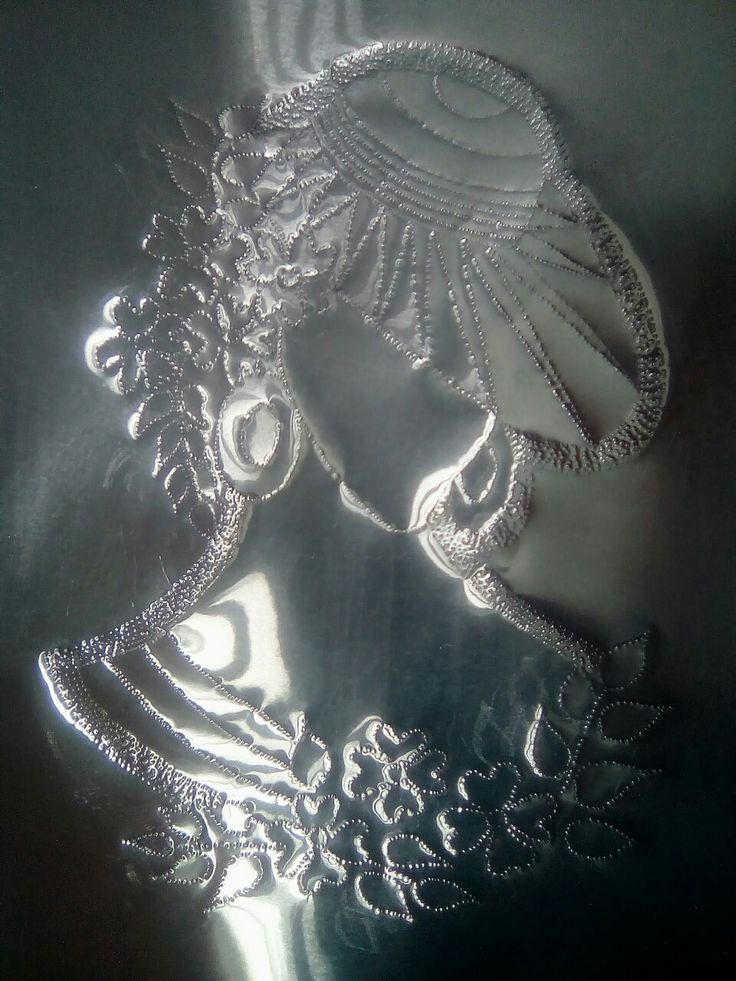 "Metal Embossing (hand crafted ) on aluminium sheet 18"" x 12""."