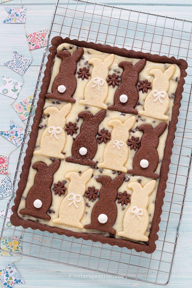 Crostata di Pasqua con crema di ricotta e cioccolato. Easter bunny pie, Tart recipe Chiarapassion