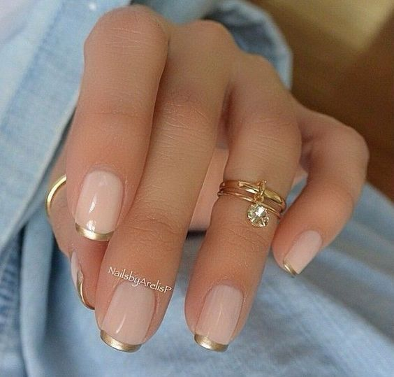 French Manicure Design - French Manicure with Gold Tips