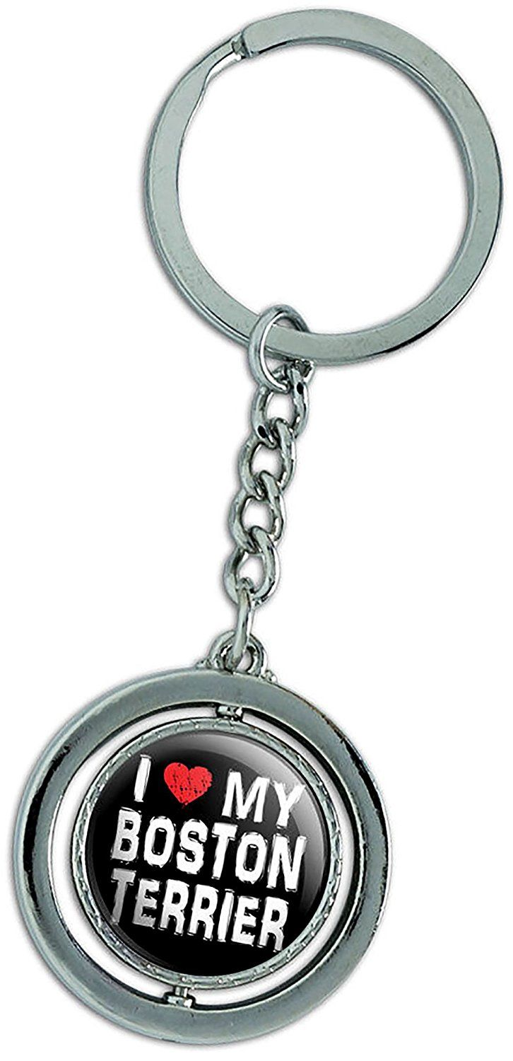 """Amazon.com: Unique & Custom 1 Single Medium Size """"Split"""" Circle Keychain Ring Made of Chrome w/ Simple I Love My Pet Boston Terrier Dog Style Charm Made of Metal {Black, White, Red, & Silver Colors}: Automotive"""