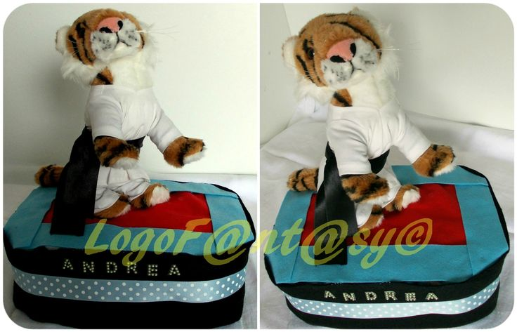 taekwondo diaper cake - torta di pannolini - tiger - tigre -