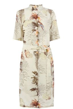 This on-trend shirt dress is constructed from a woven fabric and features a peak collar, button-through front, short sleeves, self-tie belt and midi length cut. Length of dress, from shoulder seam to hem, 105cm approx. Height of model shown: 6ft inches/183cm. Model wears: UK size 10.Fabric:Main: 100.0% Viscose.Wash care:Machine WashProduct code: 02339899 Price: £45.00