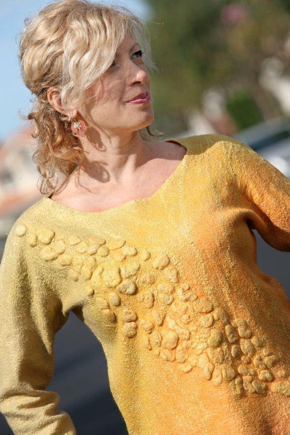 Nuno felted eco-friendly gradient bright yellow long sleeves woman sweater handmade unique size M merino women top tunic handmade eco art