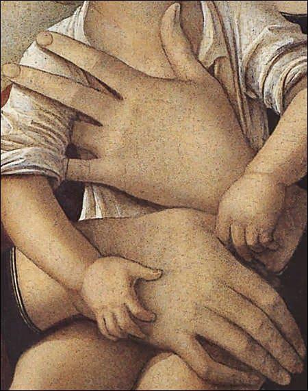 Giovanni Bellini, Madonna col Bambino, (detail) 1475