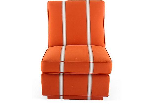 "Billy Baldwin Orange Slipper Chair on OneKingsLane.com  24.5""l X 29""d X 29""h  Anything by Billy Baldwin is always chic!"