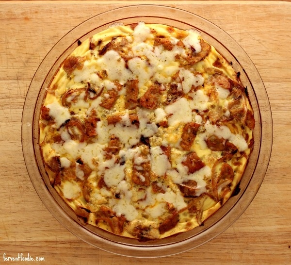 caramelized onion and sausage frittata