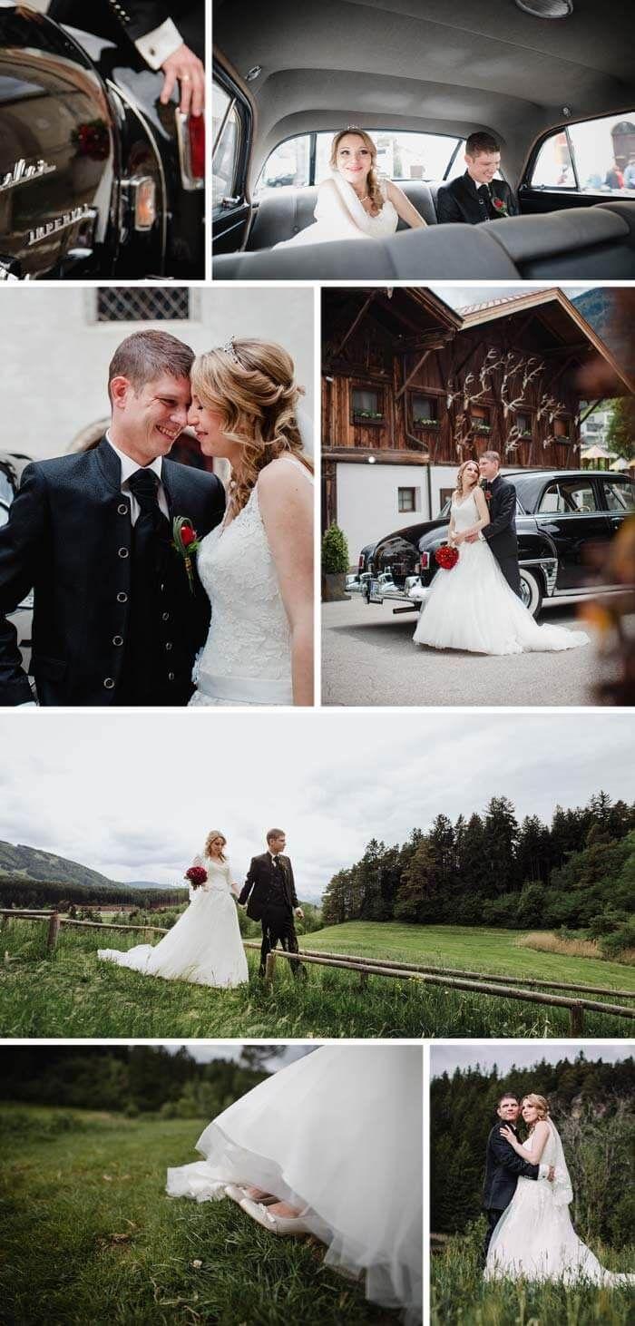 Der klassische Schnitt des Tiroler Hochzeitsanzug, ist eine Jacke mit Stehkragen und eine Weste unter dem Sakko. Die silbernen Knöpfe an Armen und Vorderseite sind  von der traditionellen Tiroler-Tracht abgeschaut. Mehr Ideen in unserem Blog...