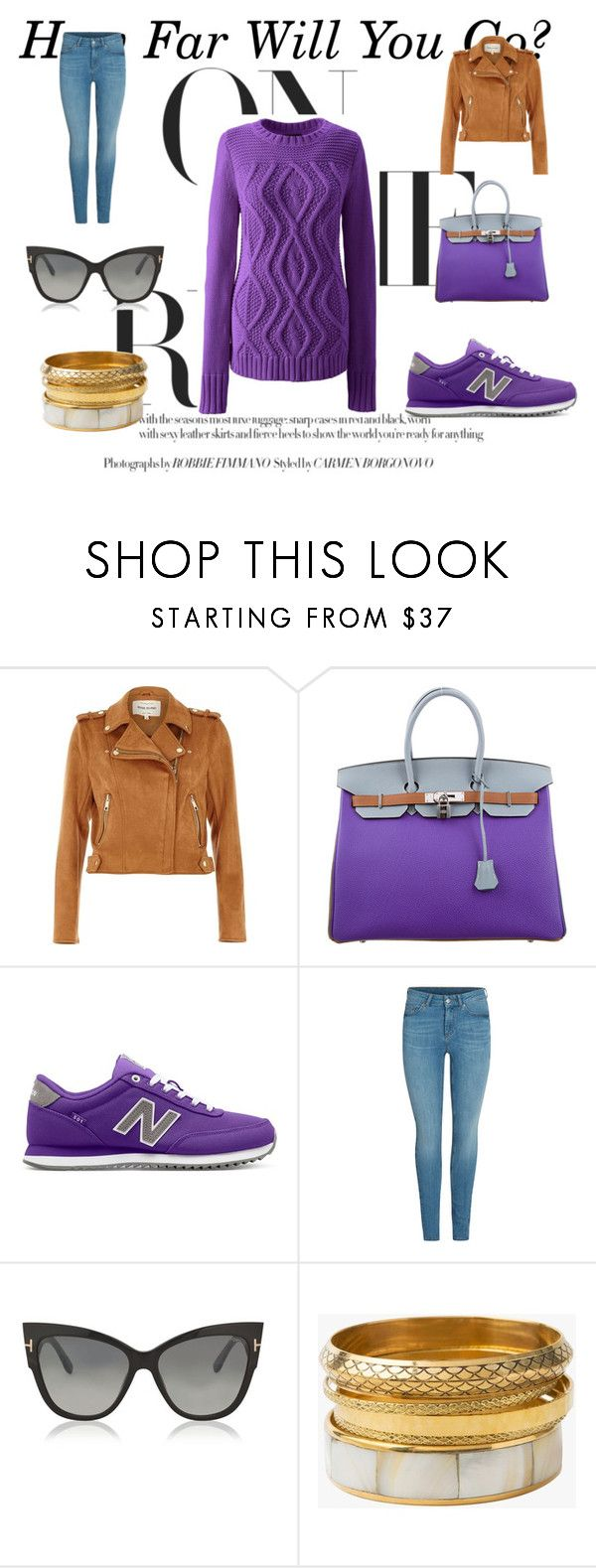 """""""Let's go to the University!"""" by ciukinaa on Polyvore featuring moda, River Island, Hermès, New Balance, Tom Ford e Lands' End"""