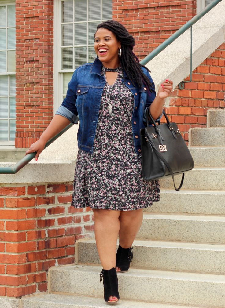 Stay on trend this school year with this super cute choker shift dress and a classic denim jacket! #mauriceslovesteachers #sponsored