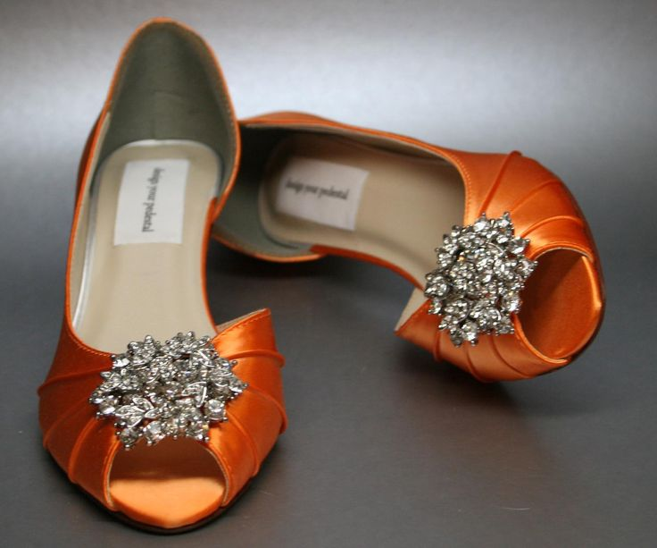 orange wedding shoes | SAMPLE SALE Wedding Shoes -- Bright Orange Peeptoes with Silver ...