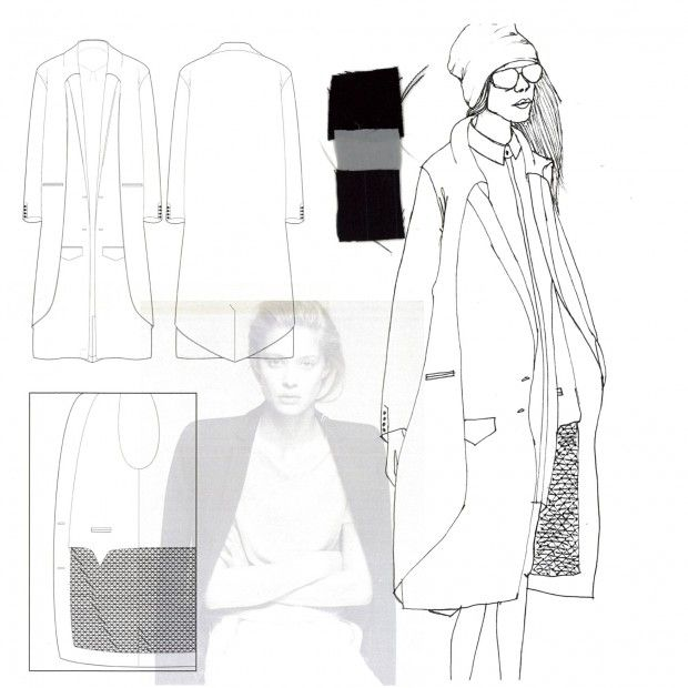 Fashion Portfolio layout - smocked jacket design illustration; fashion drawing; fashion sketchbook // Faiza Matovu