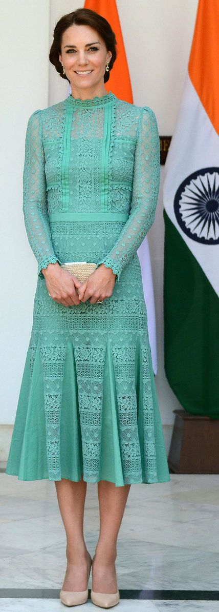 For a meeting with India's Prime Minister Narendra Modi in New Delhi, the duchess wore a jade lace Temperley London dress accessorized with nude pointed heels and a corresponding clutch.