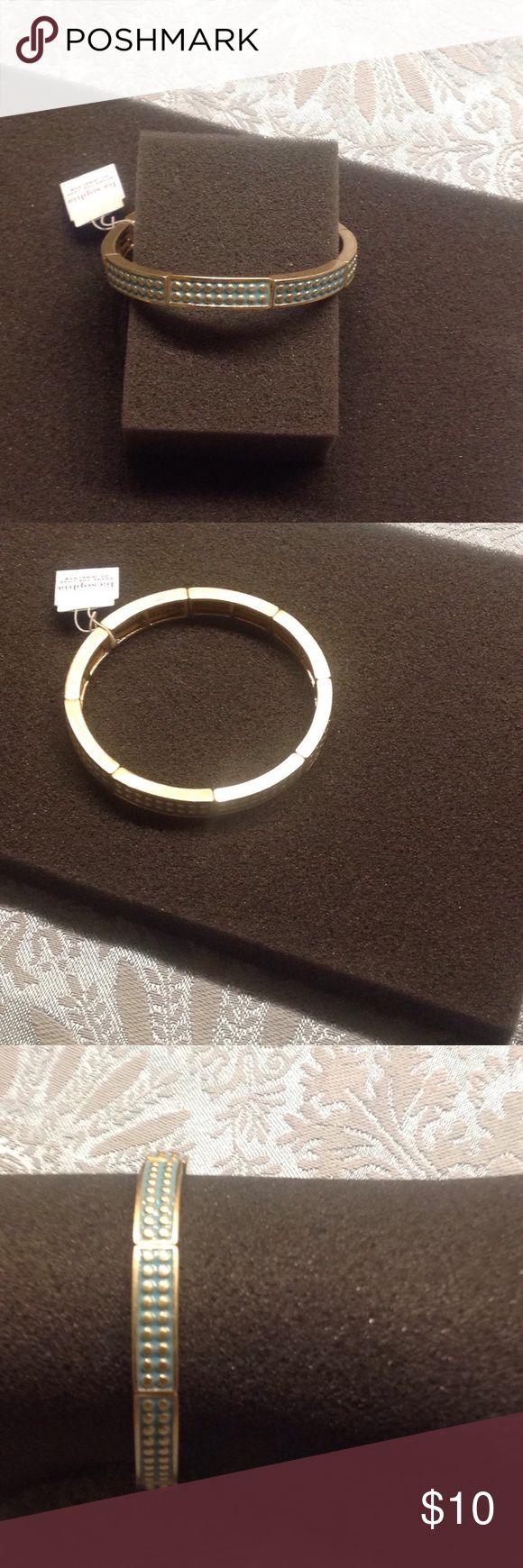 NWT Lia Sophia Swiss Dot  Teal/Gold Bracelet Sz Sm New Lia Sophia Teal w/Gold Stretch Bracelet. Fits small Lia Sophia Jewelry Bracelets