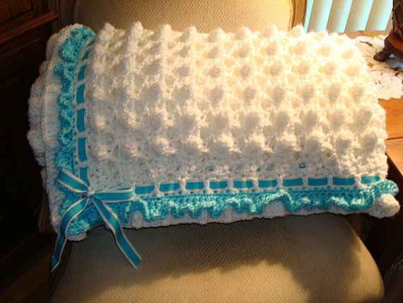 Knit Popcorn Stitch Baby Blanket : Crochet Afghan in Popcorn Stitch, with Double Ruffle Border and Grosg?