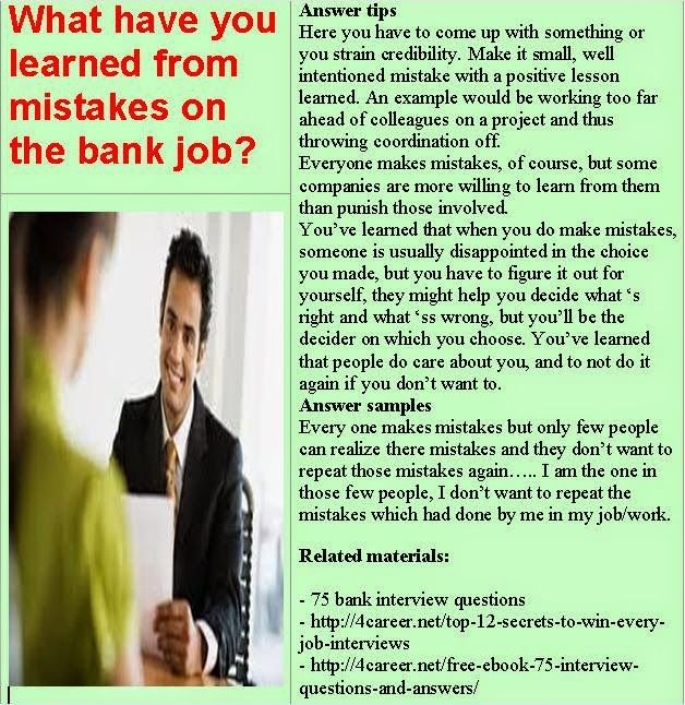 What Have You Learned From Mistakes On The Bank Job? Find This Pin And More  On Bank Interview Questions ...