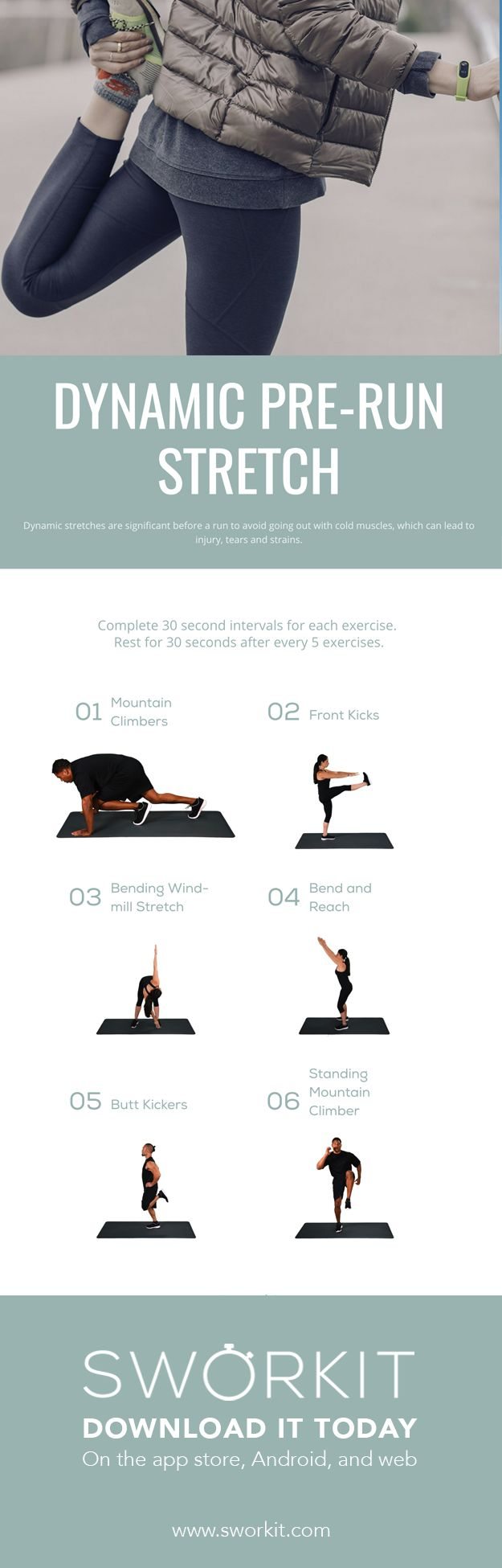 A dynamic pre-run stretch! The perfect stretch before you head outside and run. You can do this workout at the gym or at home. An easy solution if you forget to stretch before your workout. Dynamic workouts are important for runners to warm up muscles.
