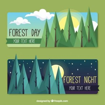 Forest day and night banners in flat design