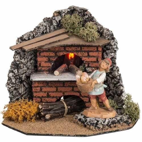 Forno elettrico con fornaia per villaggio presepe Fontanini cm 12 | vendita online su HOLYART