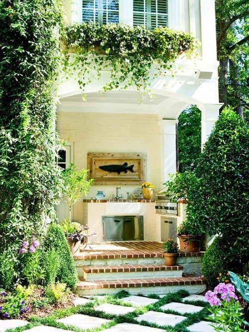 summer villa sunny outdoor kitchen with natural crawling plants decorating the facade on outdoor kitchen natural id=62992