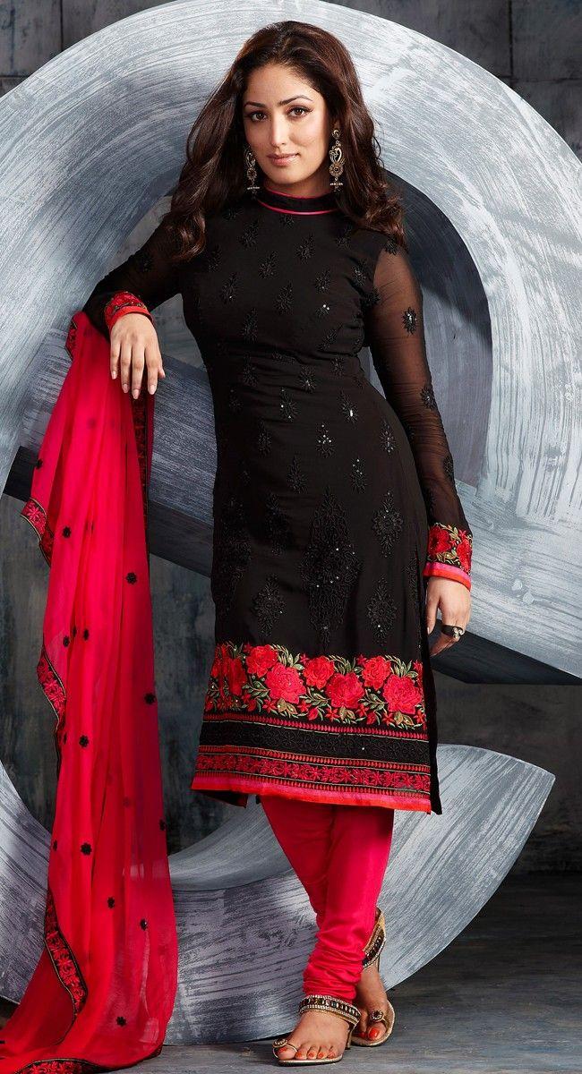 Vivacious Black Color Pure Georgette Designer Salwar Kameez $103.00