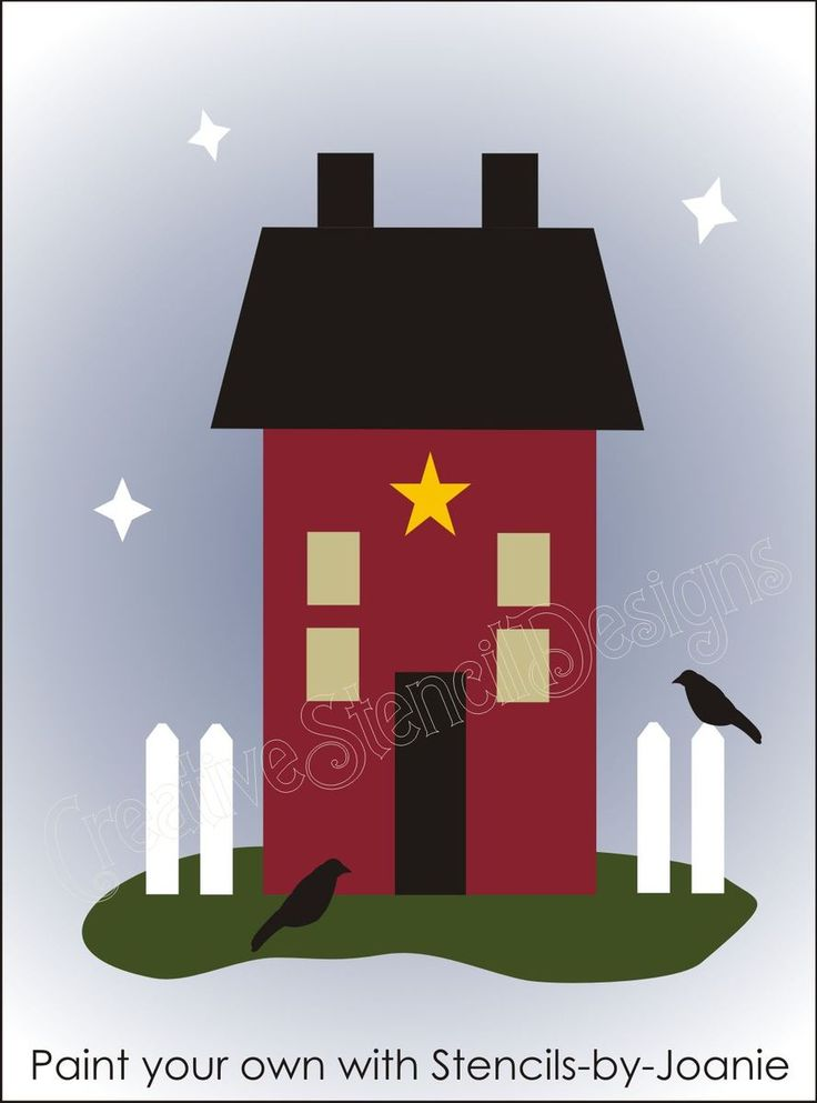 Country STENCIL Folk Art Saltbox House Home Fence Crows Star Signs