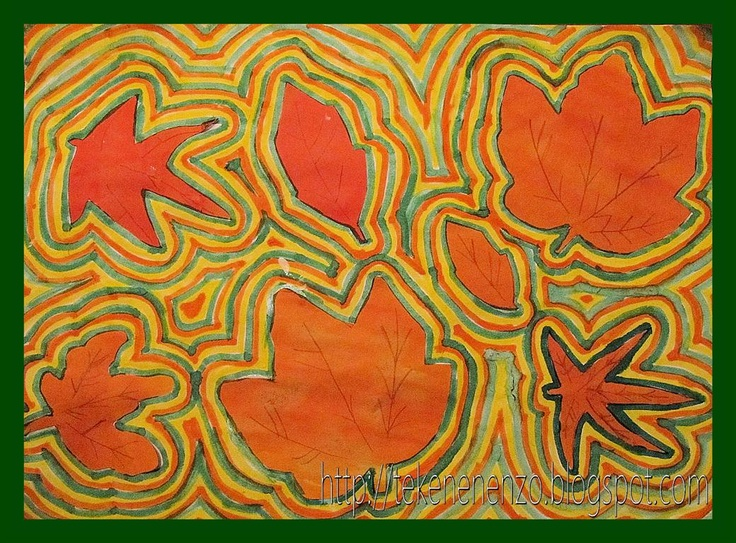 Tekenen en zo: Herfstblaadjes met contouren