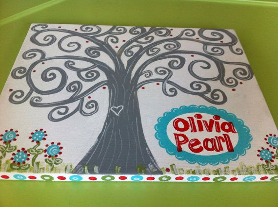 Baby shower thumbprint tree canvas painting on Etsy, $50.00