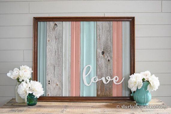 Pick UP Only Finished Reclaimed Wood Coral/Teal by StartatHome