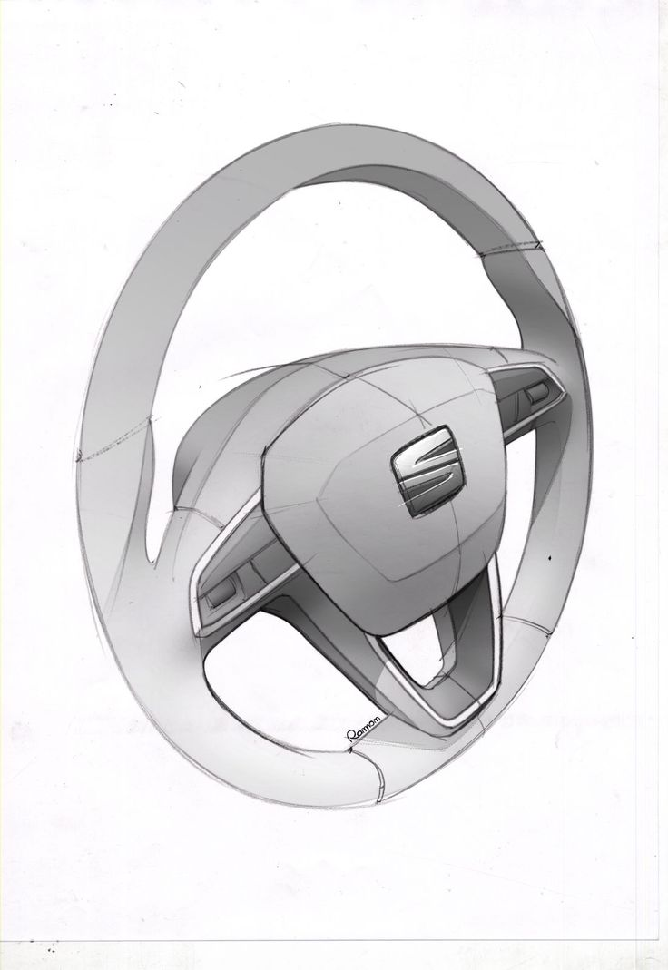SEAT Leon ST Interior - Steering Wheel Design Sketch