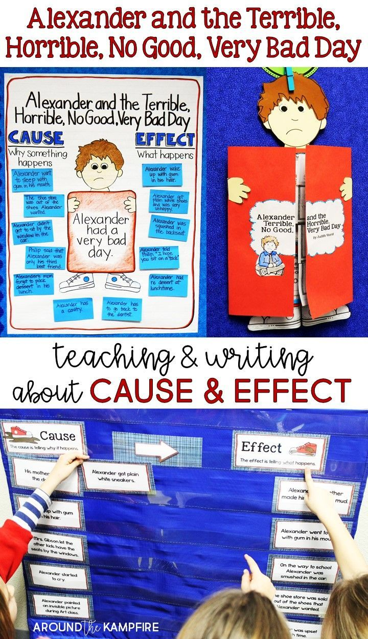 Creative ideas and lessons, plus a FREEBIE, for teaching cause and effect with Alexander and the Terrible, Horrible, No Good, Very Bad Day in my second grade classroom. See how we used this book for so many reading activities and comprehension skills and even extended those ideas into our literacy centers.