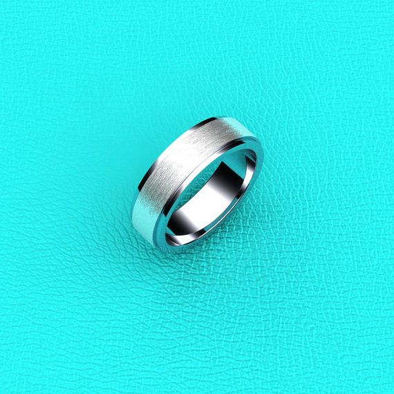 Platinum 6mm matte and polished mens band by Masterjeweler on Etsy, $1150.00