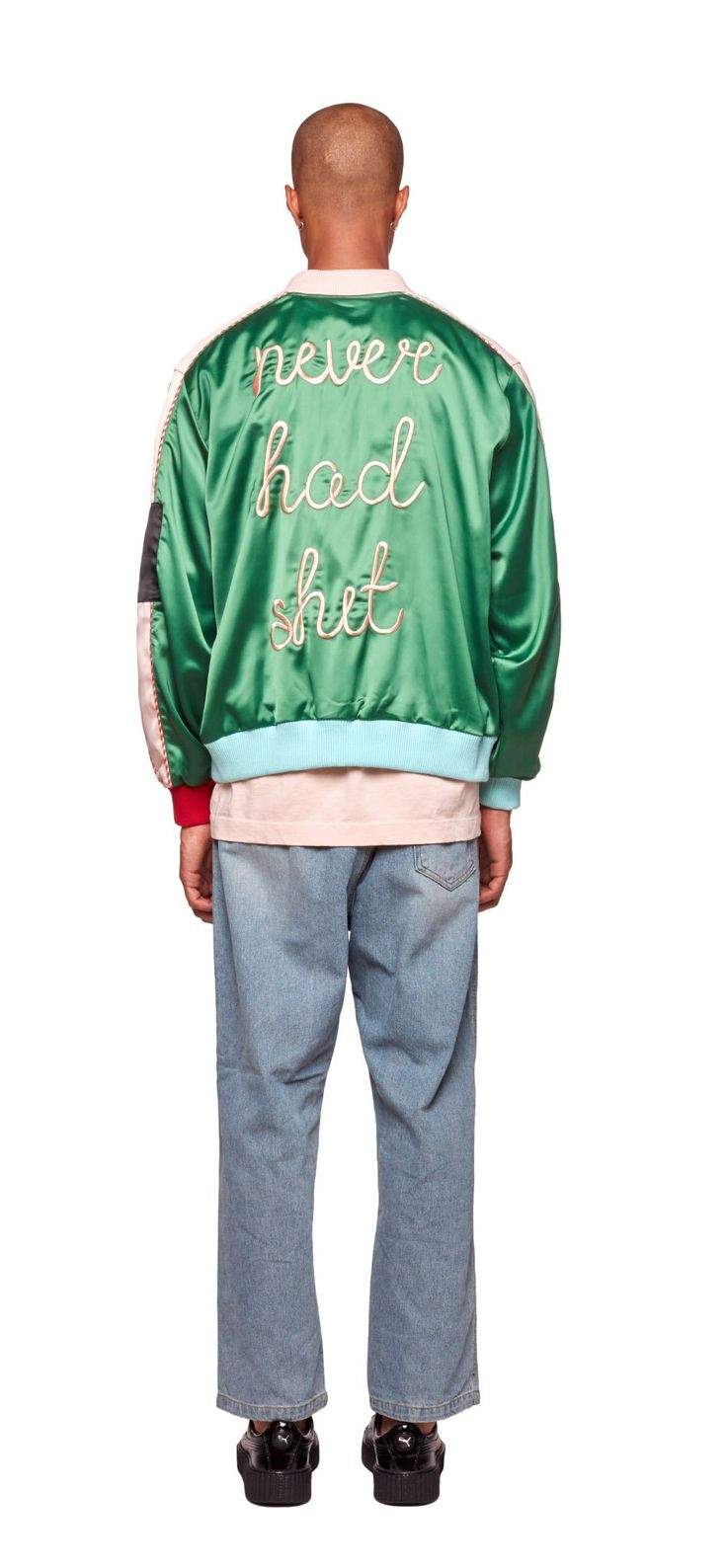 "Made of smooth satin, this green lightweight souvenir jacket features ""Never Had Shit"" embroidered slogan at the back."