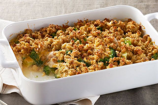 Got 15 minutes and lots of leftover turkey? Toss it in a casserole with broccoli, cream of chicken soup and Cheddar in this quick stuffing-topped bake.