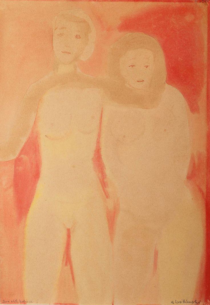 ANDRZEJ WRÓBLEWSKI (1927 - 1957)  DWA AKTY KOBIECE   akwarela, papier / 42 x 30 cm