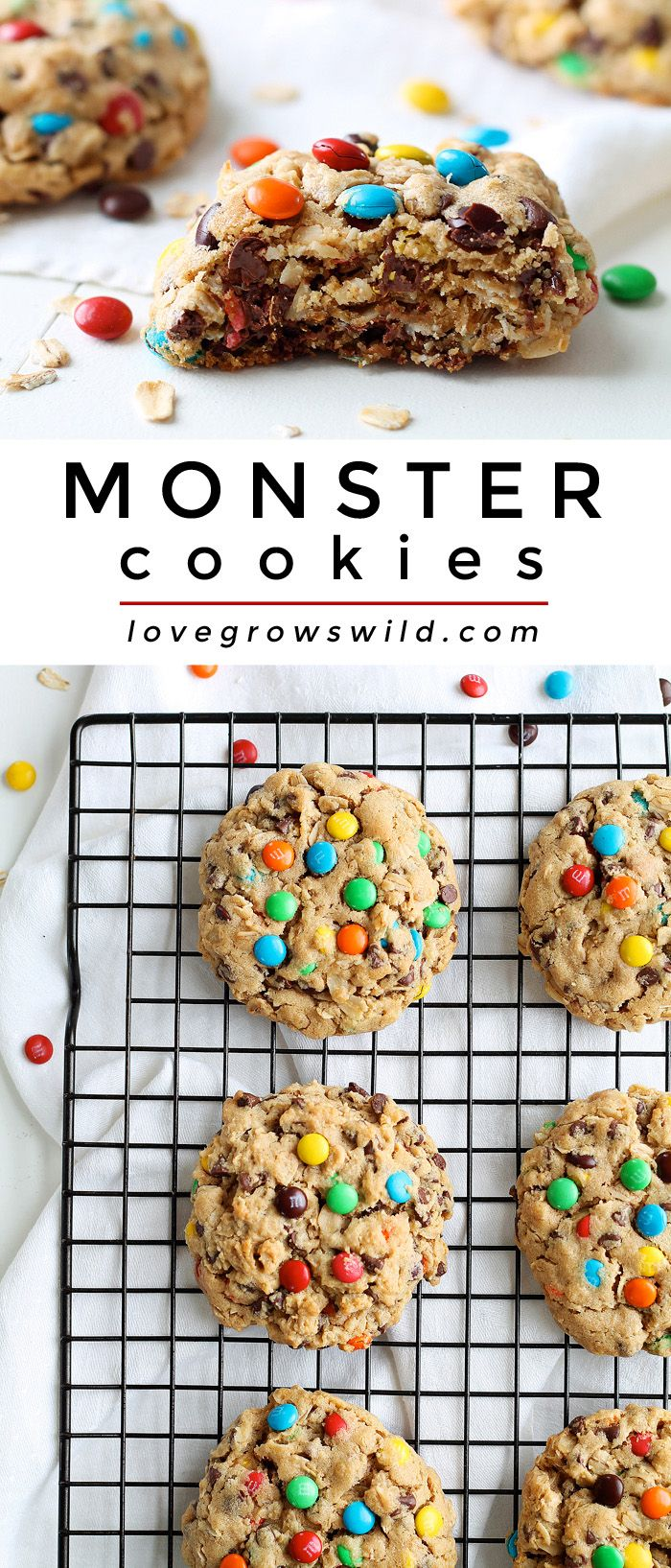 Big, chewy peanut butter cookies loaded with sweet chocolate chips, M&M candies, and oats! Get the recipe at LoveGrowsWild.com